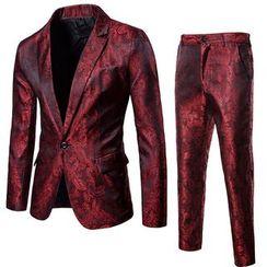 Sheck - 西服套装:单钮扣印花西装外套 + 西裤