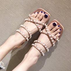 Anran - Crisscross Square-Toe Chunky-Heel Slide Sandals
