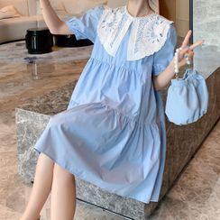 Empressa - Maternity Short-Sleeve Collar Midi A-Line Dress