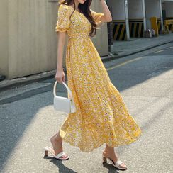 DEEPNY - Puff-Sleeve Floral Maxi Tiered Dress
