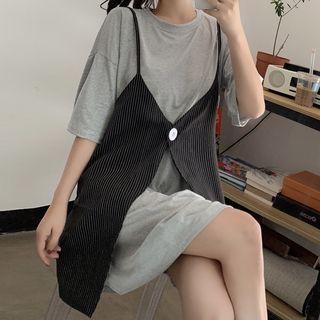 Juku Girls(ジュクガールズ) - Set: Elbow-Sleeve Plain T-Shirt + Spaghetti Strap Button-Up Mini Dress