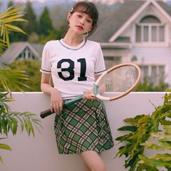 Morning Dew - Set: Numbering Swim Top + Skirt