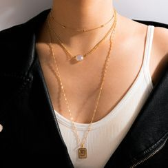 Yongge - Tag Pendant Faux Pearl Layered Necklace