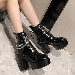 Anran - Platform-Heel Lace-Up Short Boots