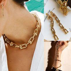 Mulyork - Alloy Chain Bracelet / Choker / Dangle Earring / Anklet