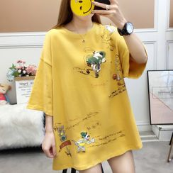 Rosehedge - Elbow-Sleeve Dog Print Tunic T-Shirt