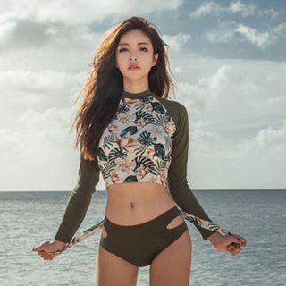 Salanghae - Set: Long-Sleeve Floral Print Cropped Rashguard + Bikini Bottom