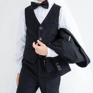 Snow Castle - Set: Kids Shirt + Buttoned Vest + Dress Pants + Bow Tie