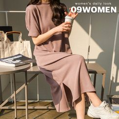 Seoul Fashion - Slit-Hem Ribbed T-Shirt Dress
