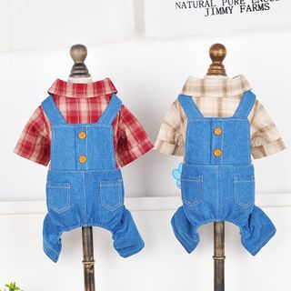 Puppy Love - Plaid Denim Mock Two-piece Pet Overall