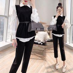 Rosewind - Set: Long-Sleeve Ruffle Trim Shirt + Dress Pants + Knit Vest