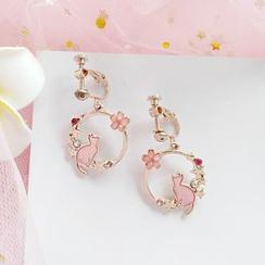 Siatra - 小猫及花朵圈环耳环