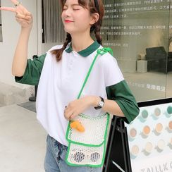 Eastin - Carrot Brooch Fishnet Crossbody Bag