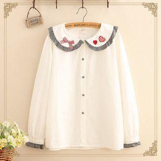 Kawaii Fairyland - Heart / Flower Embroidered Collar Blouse