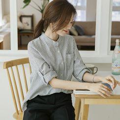 JUSTONE - Mandarin-Collar Tab-Sleeve Stripe Shirt