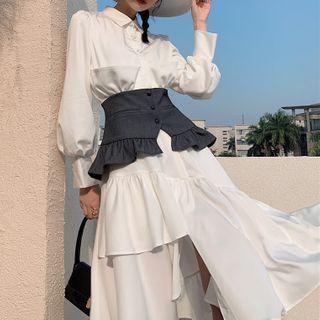 AAML - Plain Midi A-Line Shirtdress with Corset Belt