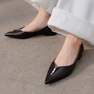 Megan(ミーガン) - Zip Accent Genuine Leather Flats