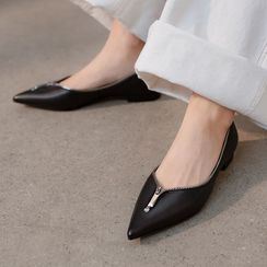 Megan - Zip Accent Genuine Leather Flats