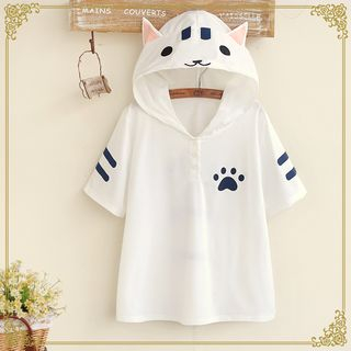 Kawaii Fairyland - T-shirt chat à capuche et manches courtes