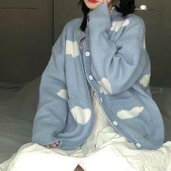 Maisee - Cloud Print Knit Cardigan