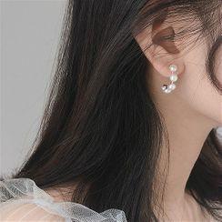 Honne - 925 Sterling Silver Faux Pearl Open Hoop Earring