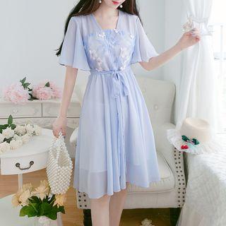 Petit Lace - Short-Sleeve Chiffon Midi Hanfu Dress