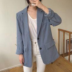 Seoul Fashion(ソウルファッション) - Single-Breasted Linen Blazer