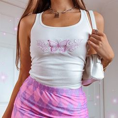 Honet - Butterfly Embroidery Tank Top