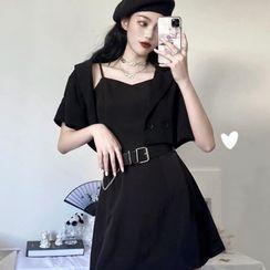Opis - Plain Spaghetti Strap Mini A-Line Dress