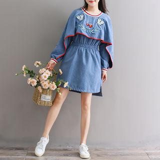 Fancy Show - Embroidered Long-Sleeve A-Line Dress