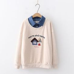 PANDAGO - House Applique Mock Two-Piece Pullover