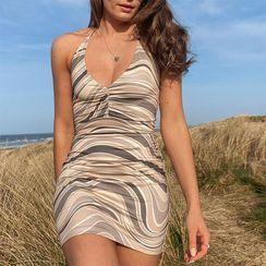 Sosana - Halter Neck Pattern Print Tie-Print Bodycon Dress