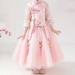 HELLO BABY - Kids Mandarin Collar 3/4-Sleeve Maxi A-Line Dress