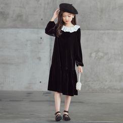 Cynanne - 小童飾領長袖直身連衣中裙