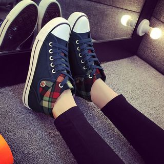 Solejoy - Plaid-Trim High-Top Sneakers