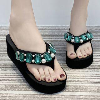 Weiya(ウェイヤ) - Gemstone Platform Flip Flops