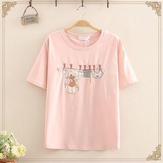 Kawaii Fairyland - Bear Embroidered Short Sleeve T-Shirt