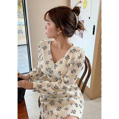chuu - Lace-Up Back Rosette Dress