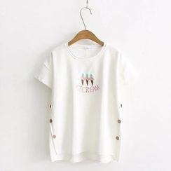 Kawaii Fairyland - 刺绣冰激凌圆领短袖T恤