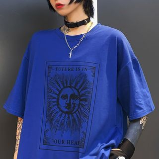 RONIN - Elbow-Sleeve Print T-Shirt