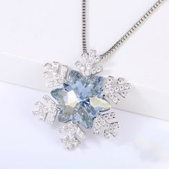 Muscovite - Swarovski Elements Crystal Snowflake Necklace
