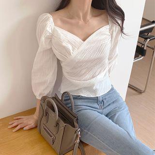 Bellobeam - 燈籠袖交錯純色襯衫