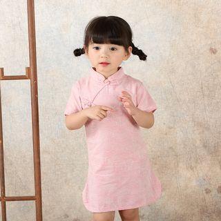 Lotus Seed(ロータスシード) - Kids Plain Short Sleeve Qipao