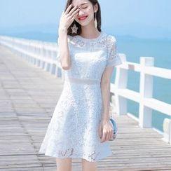 MIDUONI - Short-Sleeve Mini A-Line Lace Dress