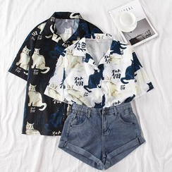 Baage - Short-Sleeve Cat Print Blouse / Roll Up Denim Shorts