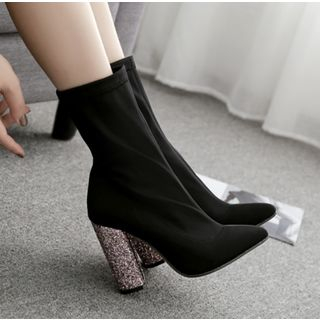 Niuna - Glitter Chunky-Heel Pointy-Toe Short Boots