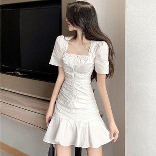 Elcione - Short-Sleeve Ruffle Hem Mini Sheath Dress