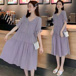 Clover Dream - Maternity Short-Sleeve Midi A-Line Dress