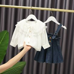 Mini Bae - Set: Kids Collared Blouse + A-Line Denim Pinafore Dress