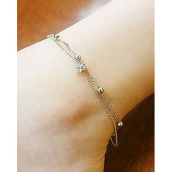 Miss21 Korea - Ball-Charm Double-Strand Chain Anklet
